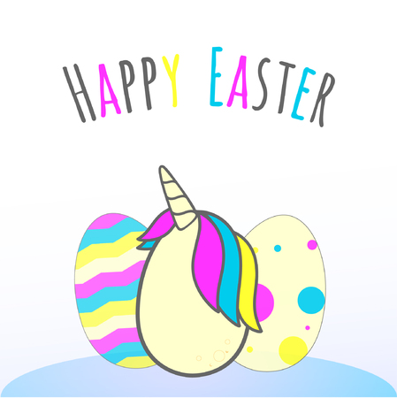 illustration of easter eggs, center egg is a unicorn egg, phrase written