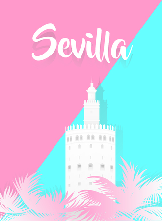 Illustration of the gold tower with the word sevilla written in spanish 免版税图像 - 97443977