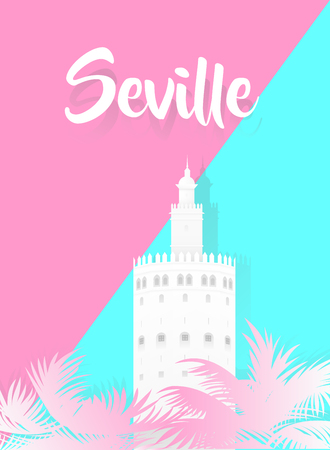 Illustration of a tower with the word seville written on pink and blue background. Vectores