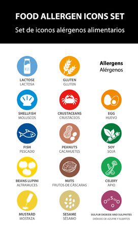 food allergen icons set, vector. ingredients.