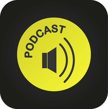 Podcast icon, vector for podcast download button Vectores