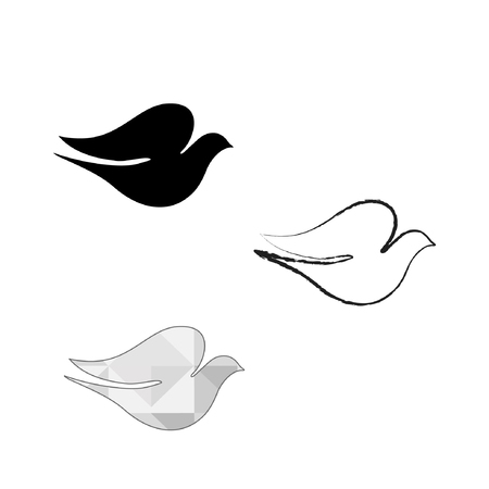 Line drawing of the pigeon, peace pigeon, logo vector.