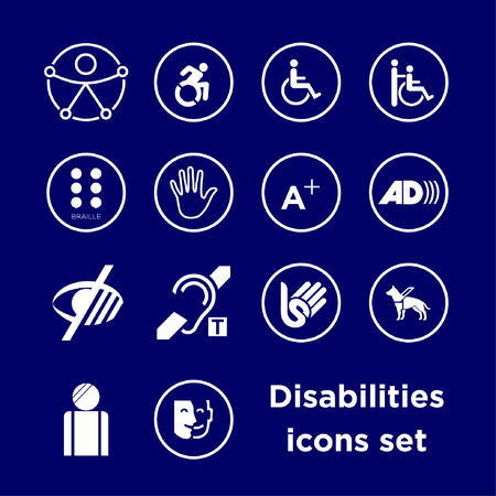 Symbols icons set of different disabilities, accessibility icons