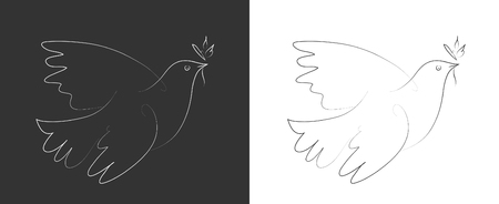 Line drawing of the pigeon, peace pigeon, Picasso style.