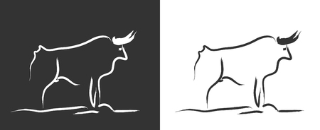 drawing of a bull painted Picasso style. vectorized drawing