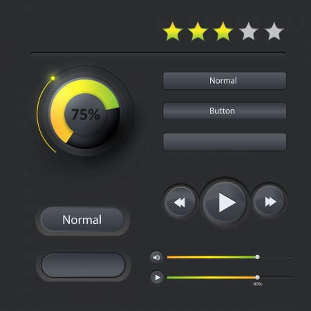 User interface web elements  Buttons, Switchers  Vector