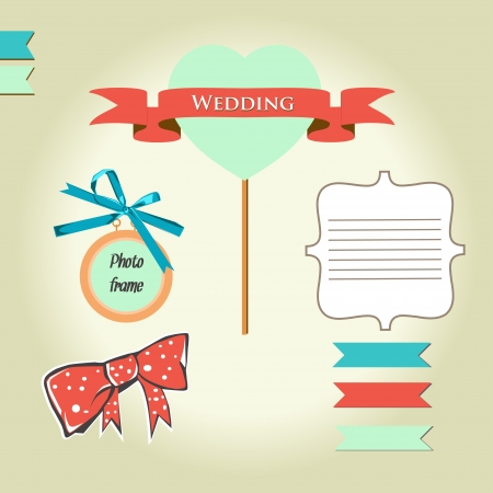 Wedding scrapbook elements set Vector