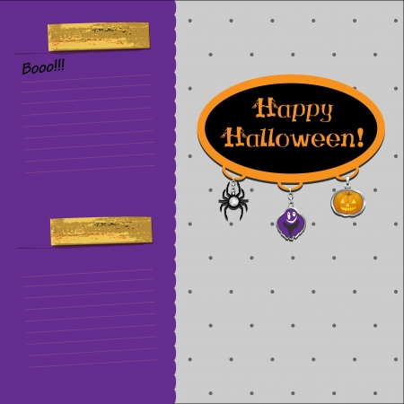 Halloween card with holiday charms Vector