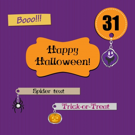 Scrapbook halloween set with lovely charms  Vector