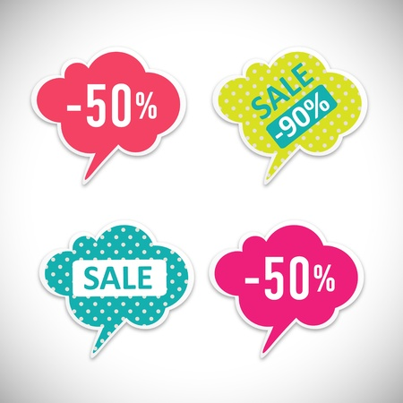 best message: Stickers with sale messages  Illustration