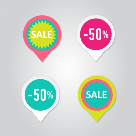 tags: Stickers with sale messages  Illustration