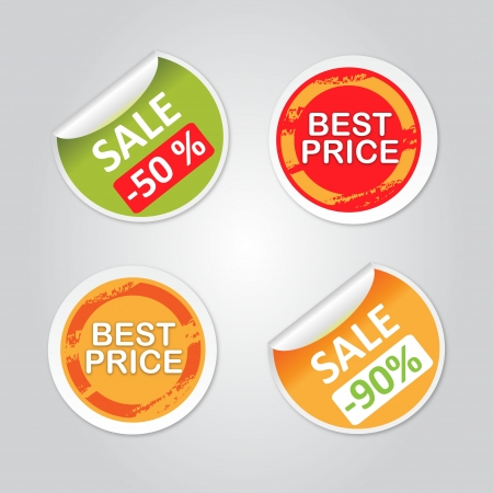 best price: Stickers with sale messages  Illustration