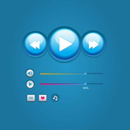 Blue button media player set Stock Vector - 20571594