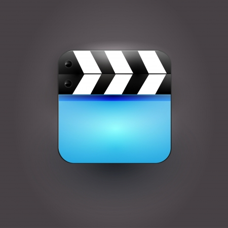 User interface clapboard Icon with blue screen Vector