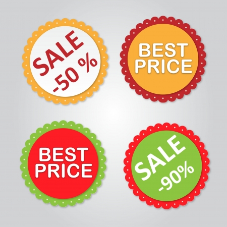 Vector Labels with sale messages  Vector