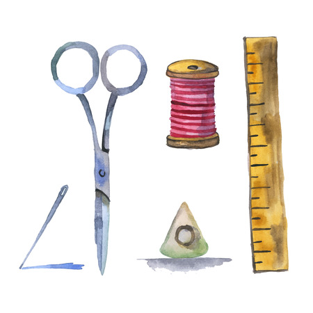 kit de costura: Conjunto de fuentes de costura acuarela vector Vectores