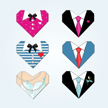 Vector fashion hearts.Doodle for wedding or party invitation  イラスト・ベクター素材
