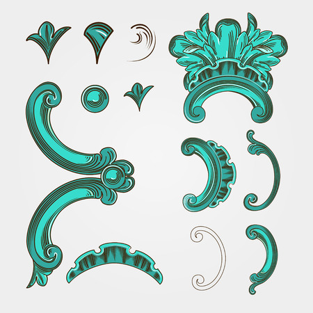 edwardian: Vector element set with waves. Deco element for cards and greeting invitations.