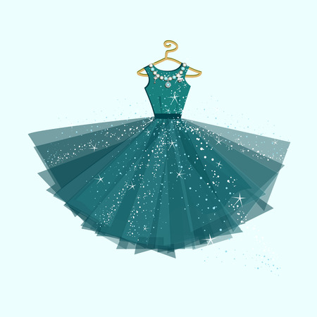 evening gown: Party dress. Vector illustration