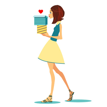 love box: Girl with love box. Vector illustration for holiday cards Illustration