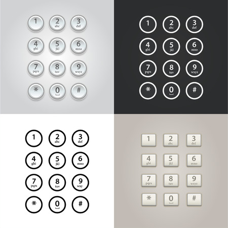 dial: User interface keypad for phone vector set Illustration