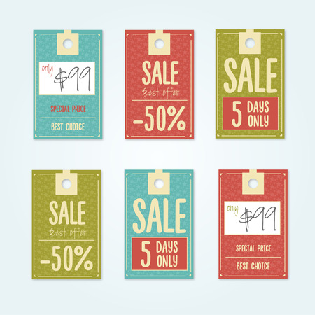 merchandise: Sale Tags with sale messages Illustration