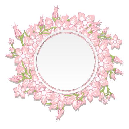 Invitation de mariage vintage avec des fleurs printanières colorées. Illustration vectorielle Vecteurs
