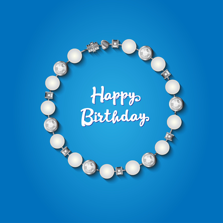 girls night out: Happy Birthday card.Bracelet with jewelery elements. Vector illustration