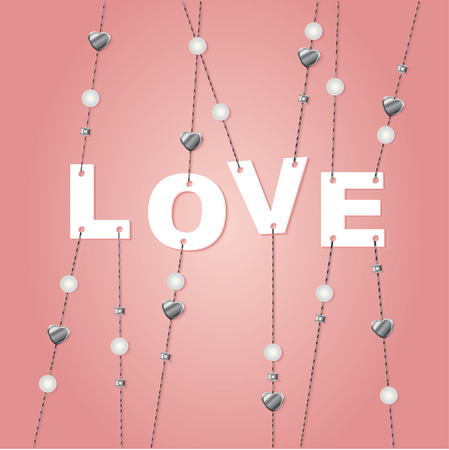 Love sign with jewelery elements.Valentine day background. Vector illustration