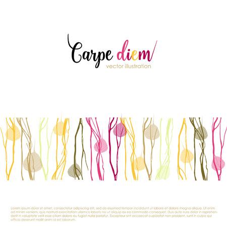 carpe diem: Latin aphorism Seize the day. Vector organic style card