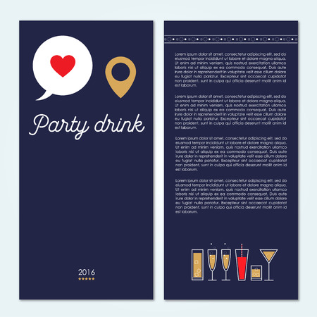 Drinks and cocktails party bar brochure. Vector illustration