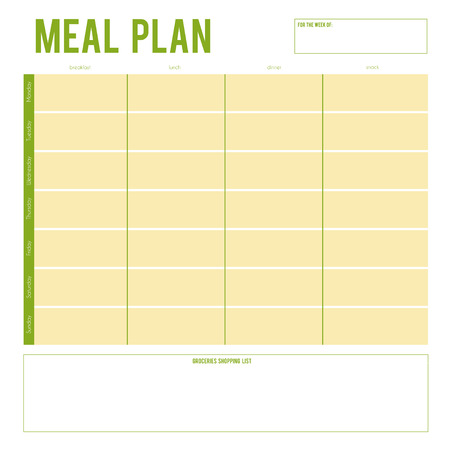 meal: Meal Plan for a week, note page. Vector printable boxes, half boxes, in flat colors for planners, Printable to do pages for life planner. Diet plan page Illustration