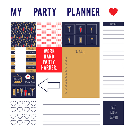 Planner page for party with stickers, printable files. Vector printable boxes, half boxes, motivation quotes, in flat colors for planners, Printable to do pages for life planner. Ilustração