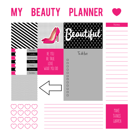 planner: Planner page with stickers, printable files. Vector printable boxes, half boxes, motivation quotes, in flat colors for planners, Printable to do pages for life planner.