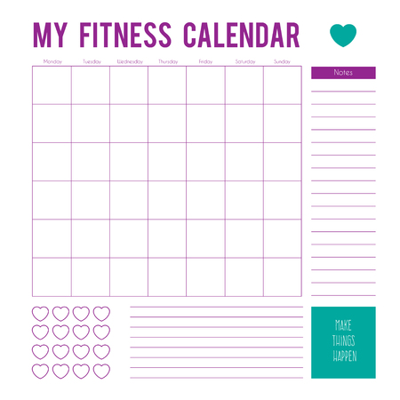 Fitness calendar plan for a week, calendar page. Vector printable boxes, half boxes, in flat colors for planners, Printable to do pages for life planner. Workout plan page