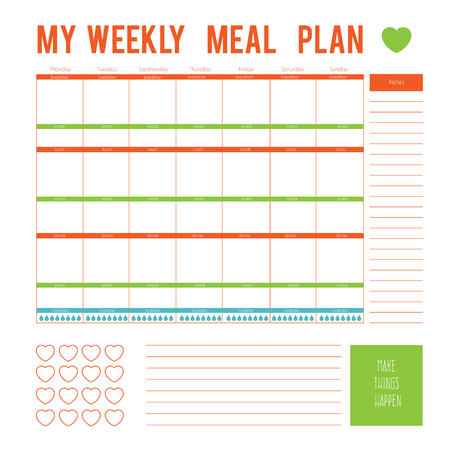 printable: Meal Plan for a week, calendar page. Vector printable boxes, half boxes, in flat colors for planners, Printable to do pages for life planner. Diet plan page