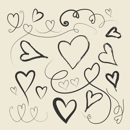 Set of vector hand drawn hearts. Vector illustration