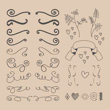 Set of vector hand drawn elements. Vector illustration