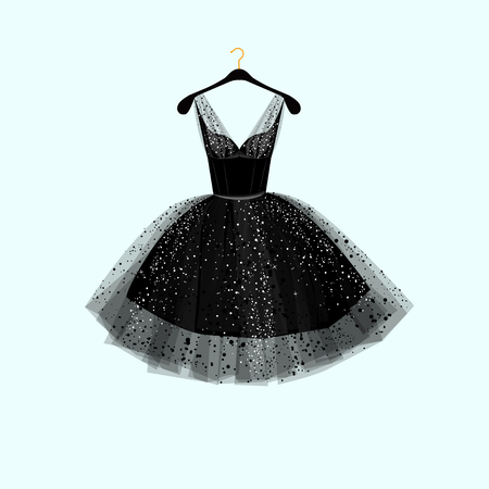 evening dress: Little black dress. Vector illustration Illustration