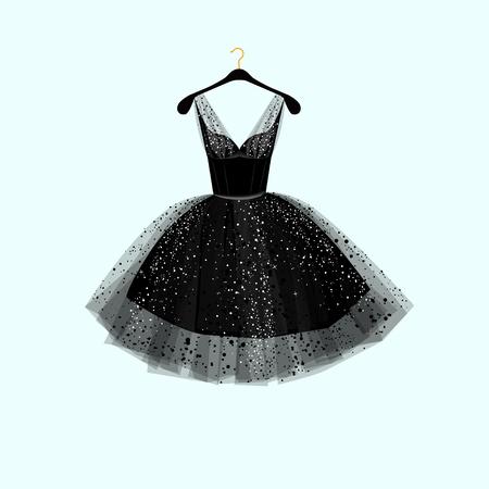ni�as peque�as: vestido negro. ilustraci�n vectorial