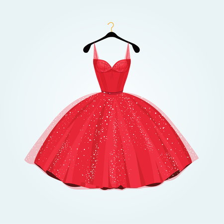 vintage dress: Red gorgeous party dress. Vector illustration