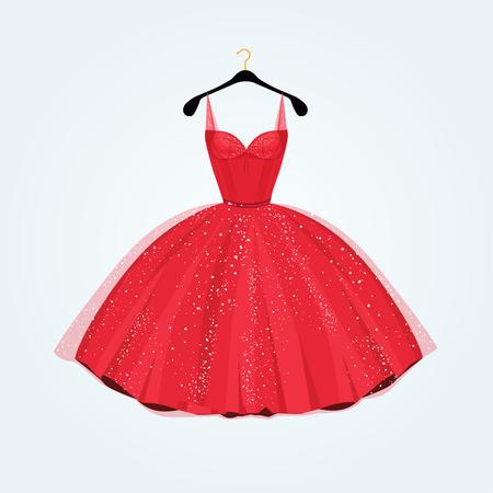 Rosso vestito da partito splendido. illustrazione di vettore Vettoriali