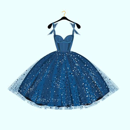 dresses: Party dress. Vector illustration