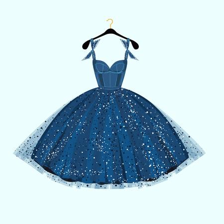 vestido de noche: Vestido de fiesta. Ilustración vectorial