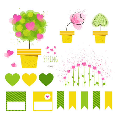 Set of vector spring decorative elements.Flowers in pots with stickers, printable files. Vector printable boxes, half boxes, in flat colors for party decor.