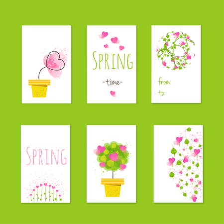 Stock vector illustration Spring style gift tags and cards with flowers Ilustração