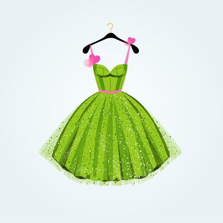 Spring party dress. Vector illustration  イラスト・ベクター素材