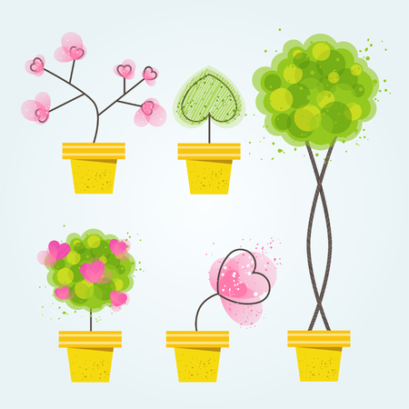 Spring flowers and trees in pots Vector Illustration fresh flowers in blossom