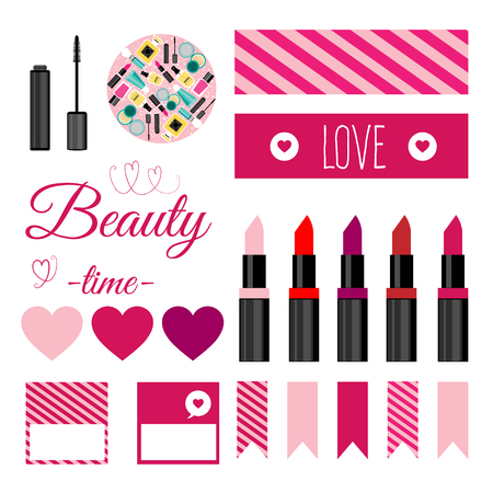 perfumery concept: Set of vector make up tools.