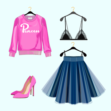 falda: Conjunto de ropa de las mujeres de moda para la compra por catálogo. Vectores